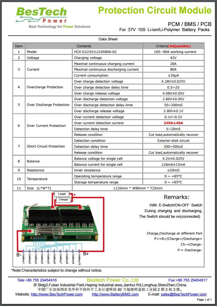 bestech HCX-D223V1 LI10S80A-02 240A