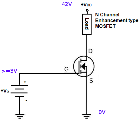 N-channel-enhancement-type-MOSFET-setup